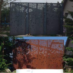 metal screen, privacy, corten steel, sheet metal, plasma cut, laser cut, metal art