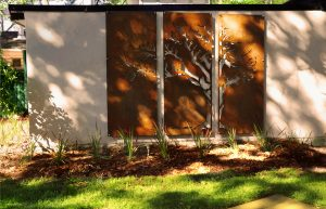 Corten steel, privacy screen, metal, cut out, plasma cut, landscape, art, custom