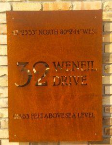 address, sign, modern address, back light address