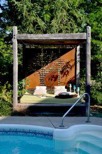 Corten steel, privacy screen, metal, cut out, plasma cut, landscaping, art, custom