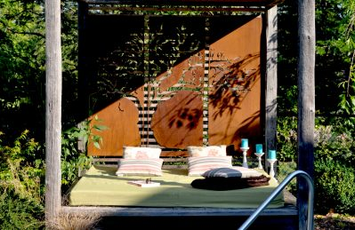 corten steel, privacy screen, metal, cut out, plasma cut, landscaping, art, custom
