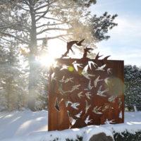 Corten Steel Outdoor Art Screen Birds in Flight