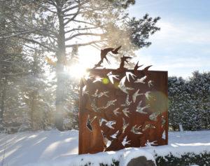 Metal Screen Sculpture Birds in Flight