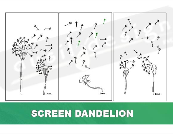 Screen Dandelion Three Panels