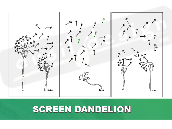 Screen Dandelion Three Panels